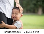 little boy crying with his... | Shutterstock . vector #716115445