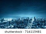 abstract urban cityscape on... | Shutterstock . vector #716115481