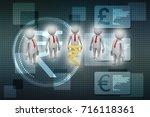 3d people around indian rupee... | Shutterstock . vector #716118361