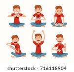 set of children playing a... | Shutterstock .eps vector #716118904