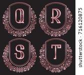 rose gold monograms set in... | Shutterstock .eps vector #716120875