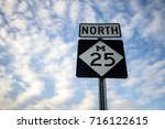 Northbound M 25 In Michigan. Roadside sign for popular M 25 along the Lake Huron coast.