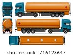 truck with fuel tank vector... | Shutterstock .eps vector #716123647