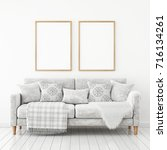 interior poster mock up with...   Shutterstock . vector #716134261