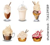 set of vanilla desserts and... | Shutterstock .eps vector #716139589