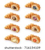 sliced croissant with chocolate ... | Shutterstock . vector #716154109