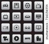 set of 16 editable cinema icons.... | Shutterstock .eps vector #716156554