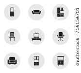 set of 9 editable furniture...