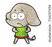 cartoon unsure elephant | Shutterstock .eps vector #716157454