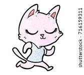 calm cartoon cat running   Shutterstock .eps vector #716159311