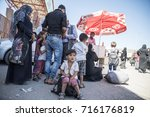 syrian refugees  mainly from... | Shutterstock . vector #716176819