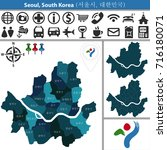 vector map of seoul with named... | Shutterstock .eps vector #716180071