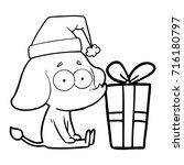 cartoon unsure elephant sat on... | Shutterstock .eps vector #716180797