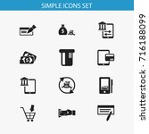 set of 12 editable financial... | Shutterstock .eps vector #716188099