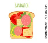 sandwich with tomato  pepper ... | Shutterstock .eps vector #716189434
