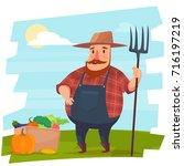 farmer with vegetables | Shutterstock .eps vector #716197219