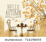 vector landscape in retro style ... | Shutterstock .eps vector #716198455