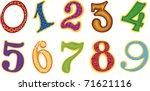 set of cartoon color numbers | Shutterstock .eps vector #71621116
