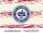 happy columbus day. paper art... | Shutterstock .eps vector #716213155