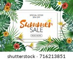 sale banner  poster with exotic ... | Shutterstock . vector #716213851