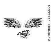 angel wings vector  lettering ... | Shutterstock .eps vector #716223301