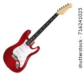 red electric guitar  classic.... | Shutterstock .eps vector #716241025