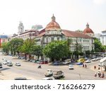 Small photo of Accountant general's office, Pansodan Lan, Yangon, Myanmar. This is Myanmar's heritage former colonial buildings.