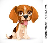 cute cartoon lop eared beagle... | Shutterstock .eps vector #716266795