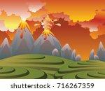 illustration of cartoon volcano ... | Shutterstock .eps vector #716267359