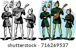 a trio of christmas carolers in ...   Shutterstock .eps vector #716269537