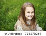 blonde hair beauty. portrait of ... | Shutterstock . vector #716270269
