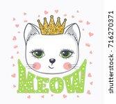 "cute cat girl saying ""meow"".... | Shutterstock .eps vector #716270371"