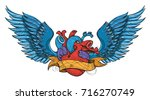 anatomical heart with wings.... | Shutterstock .eps vector #716270749