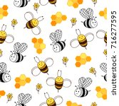 honey pattern with honeycomb ... | Shutterstock .eps vector #716277595