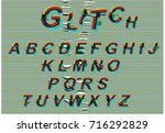 distorted glitch font vector. a ... | Shutterstock .eps vector #716292829