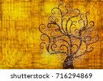 abstract tree on a gold... | Shutterstock .eps vector #716294869