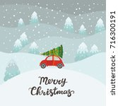 red car with christmas tree | Shutterstock .eps vector #716300191