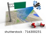 3d illustration of map with... | Shutterstock . vector #716300251