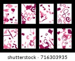 set of 8 cover templates with... | Shutterstock .eps vector #716303935