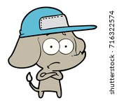 cartoon unsure elephant wearing ... | Shutterstock .eps vector #716322574