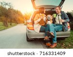 tea party in car truck   loving ... | Shutterstock . vector #716331409