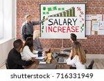 man giving salary increase... | Shutterstock . vector #716331949