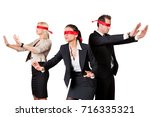 business people in blindfolds... | Shutterstock . vector #716335321