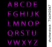 violet neon alphabet. glowing... | Shutterstock .eps vector #716343367