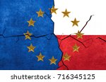 european union and polish flags ... | Shutterstock . vector #716345125