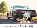 beautiful wedding car with... | Shutterstock . vector #716361484
