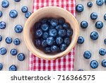 Blueberries In Mortar On Red...