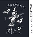 happy halloween  scarecrow with ... | Shutterstock .eps vector #716367949