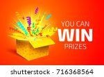 Stock vector open yellow box with colorful particles you can win prizes lottery drawing advertising banner 716368564