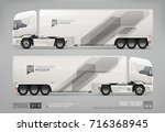 realistic truck trailer for... | Shutterstock .eps vector #716368945
